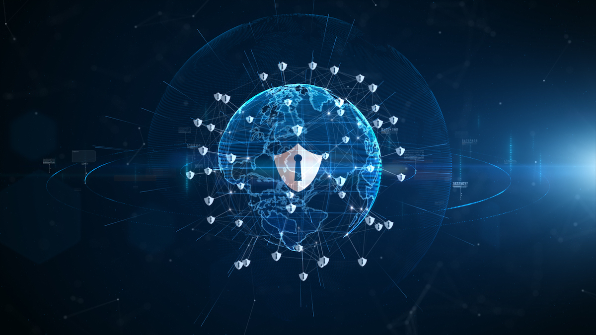 Shield icon cyber security, Digital data network protection, Technology digital network data connection, Digital cyberspace future background concept.