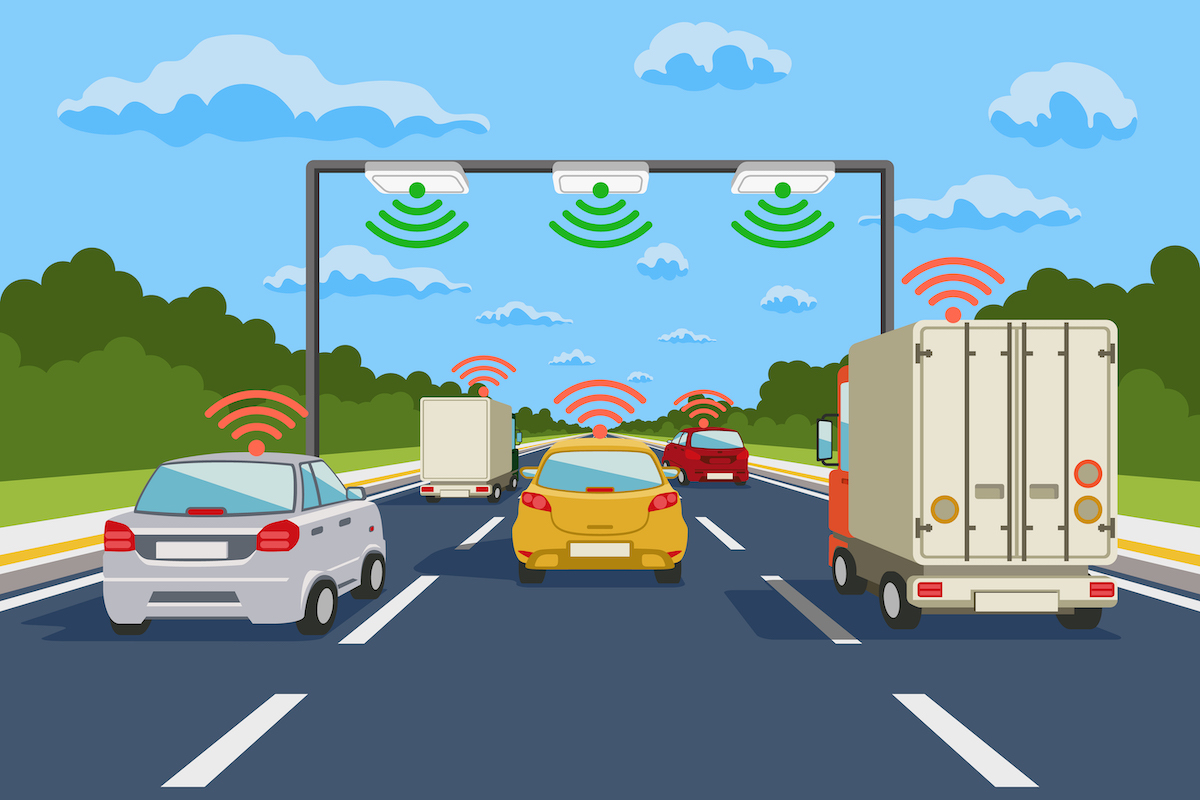 Highway communication system vector infographics